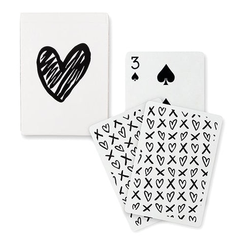 Playing Cards Black Foil Heart XOXO Deck Of Cards Wedding Favor Shower Favor