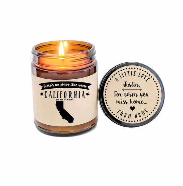 California Scented Candle Missing Home Homesick Gift No Place Like Home State Candle
