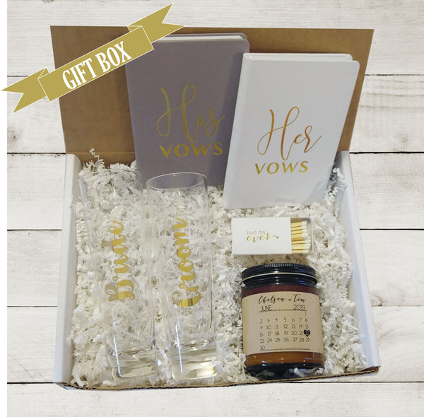 Engagement Gift Box for Bride His and Hers Vows Books Champagne Flutes Future Mrs Wedding Gift for Best Friend Bridal Shower Gift Bride Gift