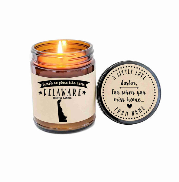 Delaware Scented Candle Missing Home Homesick Gift No Place Like Home State Candle