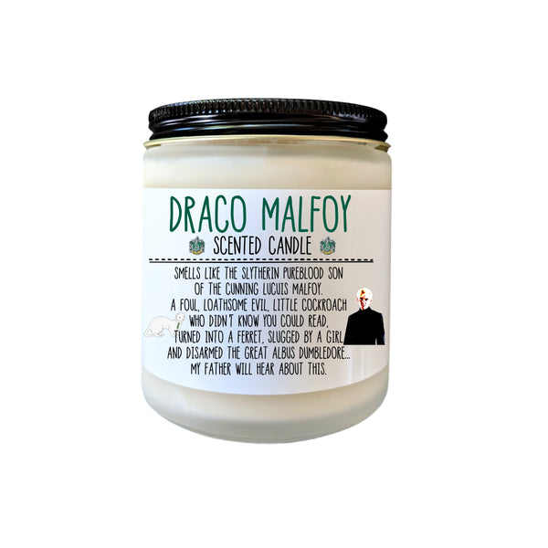 Draco Malfoy Candle Bookish Candle Book Lover Gift Bookish Candle Slytherin Harry Potter Gift