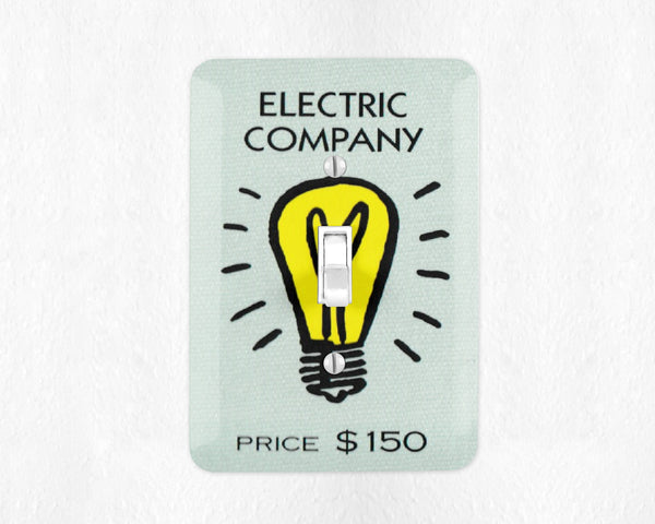 Electric Company Switch Plate Cover Monopoly Switchplate Wall Plate Cover Game Room Decor Man Cave Light Switch Cover Light Wall Plate