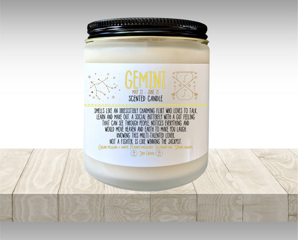 Gemini Gift Zodiac Candle Zodiac Gifts Birthday Gift Birthday Candle Birthday Gift for Her Birthday gift for Friend Holiday Gift Under 20