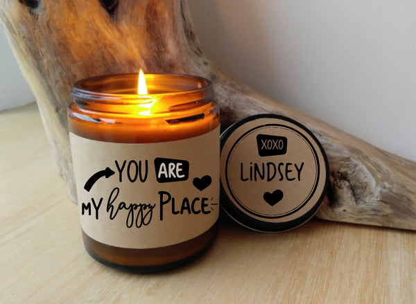 You Are My Happy Place Custom Candle Personalized Candle Gift for Spouse Romantic Gift