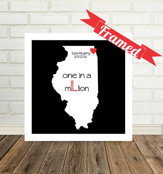 Personalized State Map Art Custom State Map State of Love Framed Art Valentine Gift