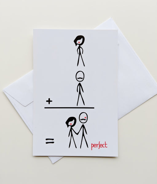 Perfect Together Valentine Card Romantic Valentine Card Valentines Day Geekery Love Comic Book Card Stick Figures