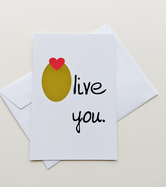 Olive You Romantic Card Love Card Valentines Day Card I Love You Olive Juice Valentine Card