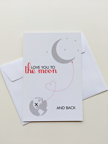 Love You To The Moon And Back Card Romantic Card Valentines Day Card Valentine Card