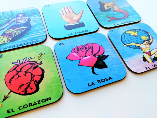 Loteria Coaster Set of 6 Mexican Loteria Bingo Card Mexican Theme Gift Birthday Gift Latino Gift Party Gift Party Favor Mexican Folk Art