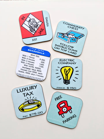 Monopoly Coasters Set of 6 Monopoly Board Game Birthday Gift for Friend Gift for Gamer Housewarming Gift Funny Gift New Home Gift