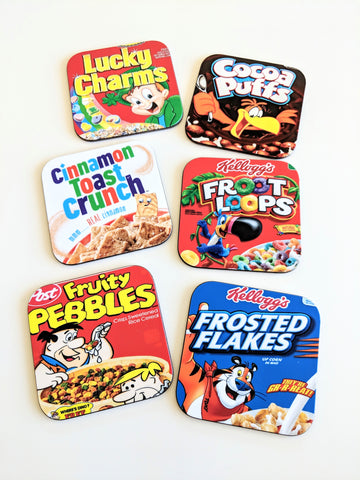 Breakfast Cereal Coasters Set Fruit Loops Cocoa Puffs Lucky Charms Fruity Pebbles Cereal Lover Housewarming Gift Funny Gift New Home Gift