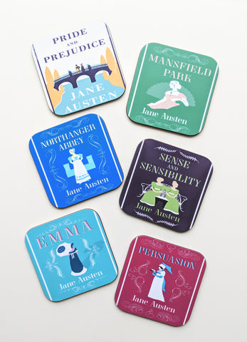 Jane Austen Books Coaster Set of 6 Jane Austen Gift Birthday Gift for Friend Book Lover Gift Pride and Prejudice Emma Sense and Sensibility