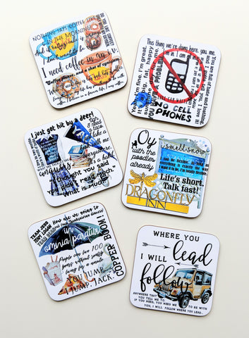 Gilmore Girls Gift Coasters Set of 6 Gilmore Girls Fan Birthday Gift for Her Friend Gift Housewarming Gift Funny Gift New Home Gift