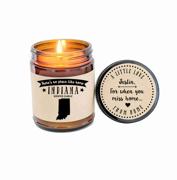 Indiana Scented Candle Missing Home Homesick Gift Moving Gift No Place Like Home State Candle