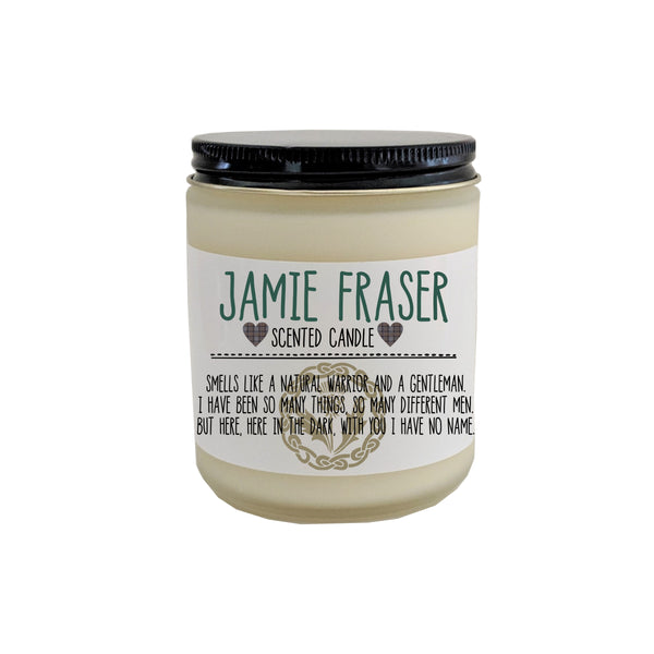 Jamie Fraser Candle Outlander Gift Bookish Candle Gift for Book Lover Sassenach Claire Fraser Claire Randall Scottish Highlander