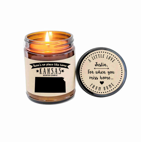 Kansas Candle State Scented Candle Missing Home New Home Gift No Place Like Home State Candle