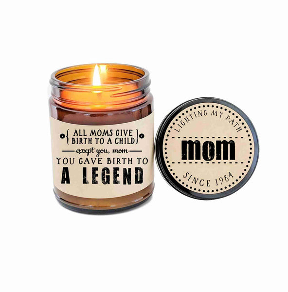 Funny Mothers Day Gift for Mom Birth to A Legend Funny Mom Gift for Mother Birthday Gift Candle Gift