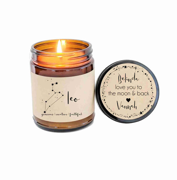 Leo Zodiac Candle Zodiac Gifts Birthday Gift Birthday Candle Personalized Soy Candle Leo Gift Star Candle Star Sign Birthday Gift for Him