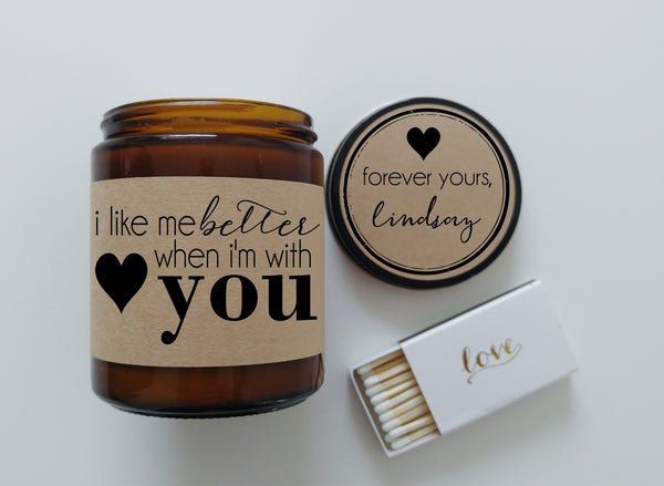 I Like Me Better When Im With You Boyfriend Gift Girlfriend Gift Personalized Candle Holiday Gift You and Me Song Lyrics Love Gift Romantic