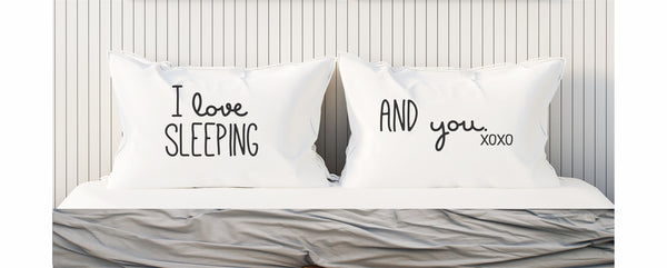 Funny Pillowcases Couples Pillow Cases I Love Sleeping I Love You Pillowcase Set 300TC Gift for Him Valentines Day Gift for Boyfriend