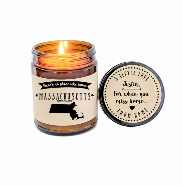 Massachusetts Scented Candle Missing Home Homesick Gift No Place Like Home State Candle