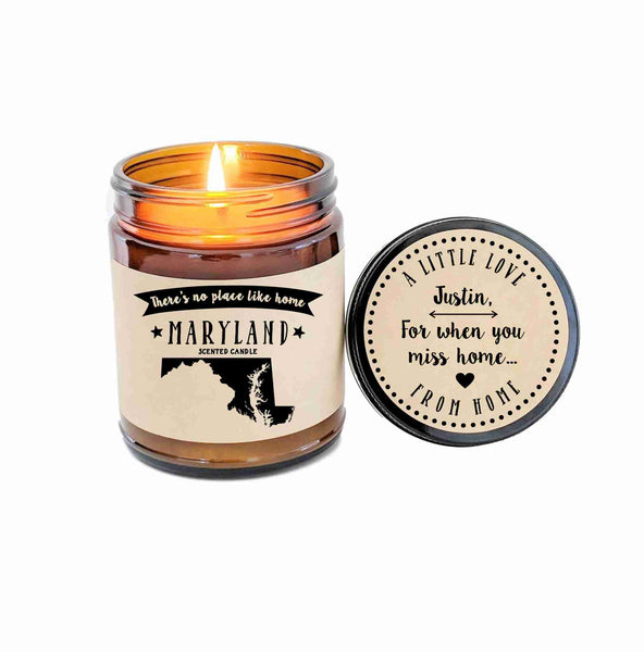 Maryland Scented Candle Missing Home Homesick Gift No Place Like Home State Candle