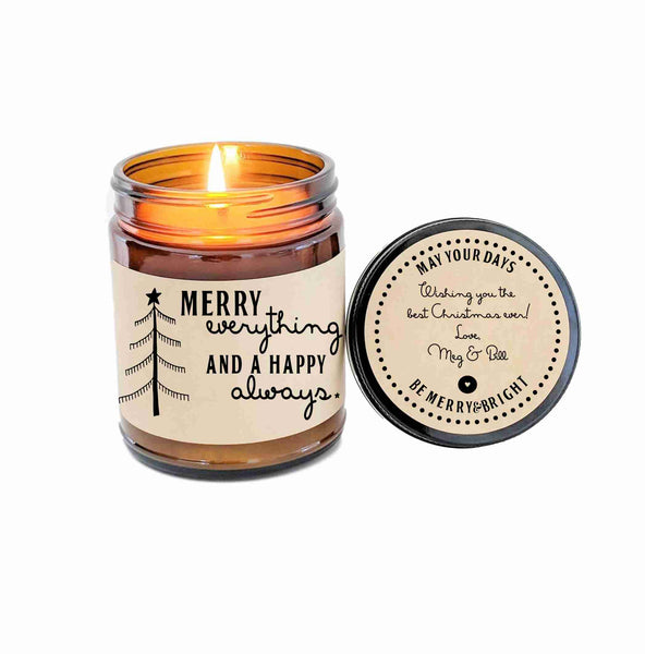Merry Everything and A Happy Always Personalized Gift Family Gift Holiday Candle Christmas Gift