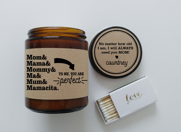 Gift for Mom Names Mama Mommy Ma Mum Mamacita Gift for Mother Scented Candle Mom Gift Birthday Gift