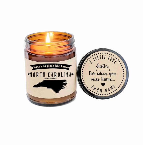 North Carolina Scented Candle Missing Home Homesick Gift No Place Like Home State Candle