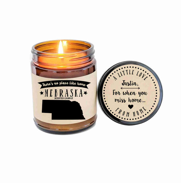 Nebraska Scented Candle Missing Home Homesick Gift New Home Gift No Place Like Home State Candle