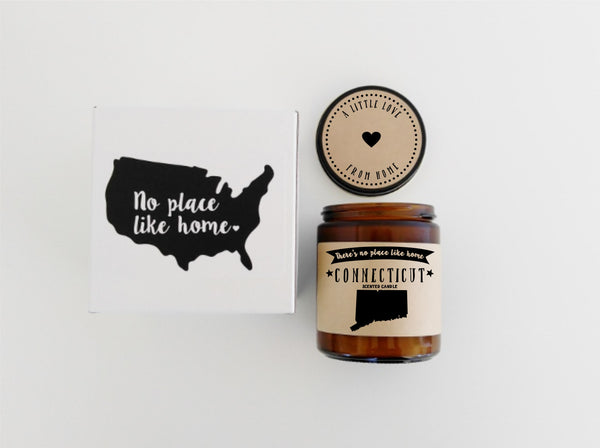 Connecticut Scented Candle Missing Home Homesick Gift  No Place Like Home State Candle Gift