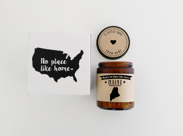 Maine Candle State Scented Candle Missing Home Moving Gift No Place Like Home State Candle