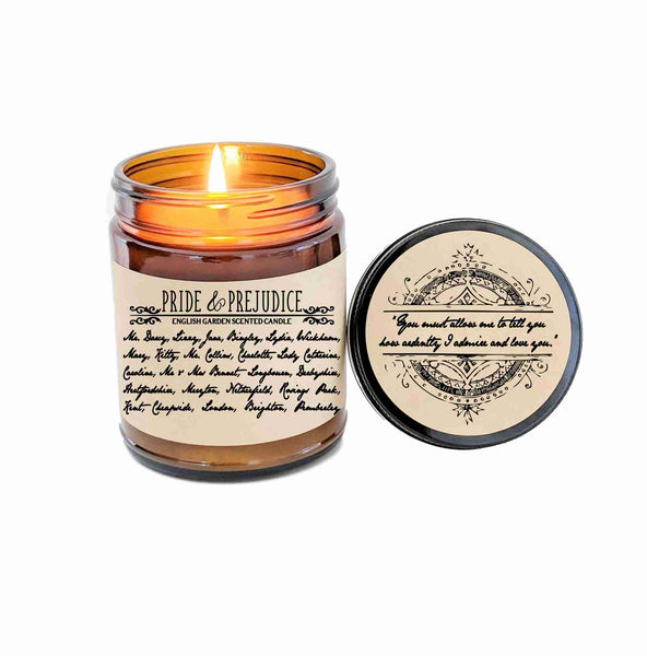 Pride and Prejudice Candle Gift Mr Darcy Jane Austen Book Lover Gift Book Inspired Literary Candle Bookworm Gift Literary Quote Movie Candle