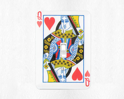 Queen of Hearts Switch Plate Cover Playing Cards Wall Plate Cover Poker Switchplate Cover Game Room Decor Man Cave Poker Gift Casino Decor