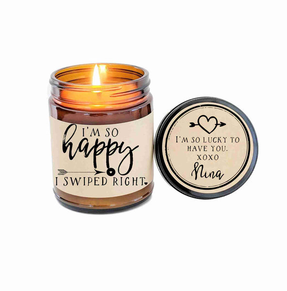 Swiped Right Gift for Girlfriend Boyfriend Valentines Day Gift So Happy I Swiped Right Soy Candle