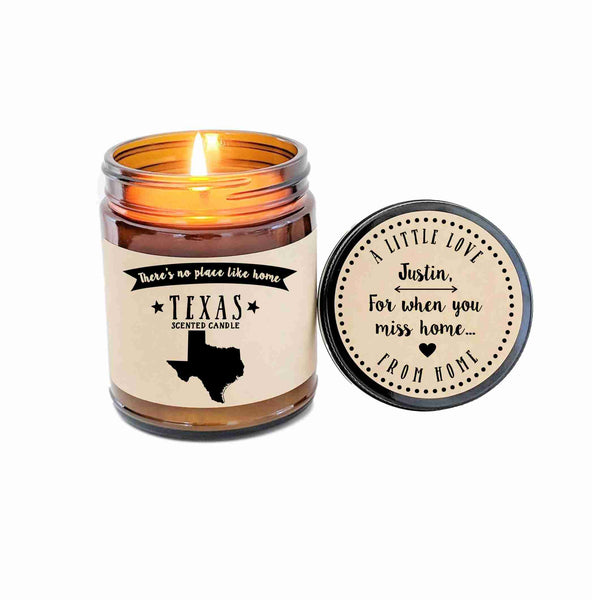 Texas Scented Candle Missing Home Homesick Gift New Home Gift No Place Like Home State Candle