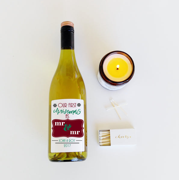 Our First Christmas Gift Personalized Wine Label First Christmas Holiday Wine Bottle Label