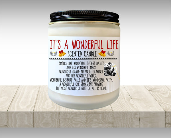 It's A Wonderful Life Christmas Candle  Holiday Gift Christmas Gift Secret Santa Gift Stocking Stuffer Gift Under 20