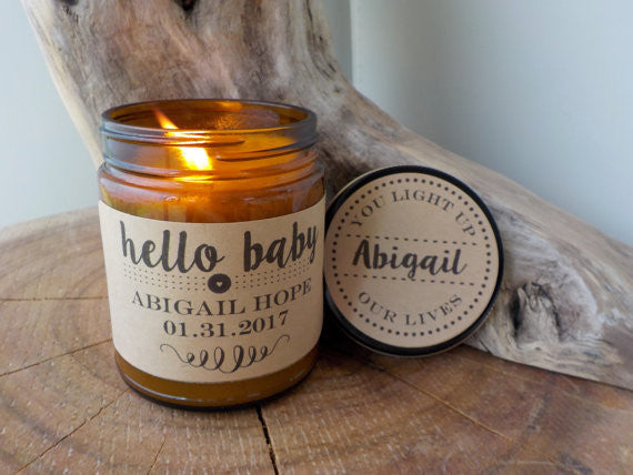 Baby Gift Personalized Candle Hello Baby Shower Gift Baby Girl Baby Boy Personalized Baby Gift