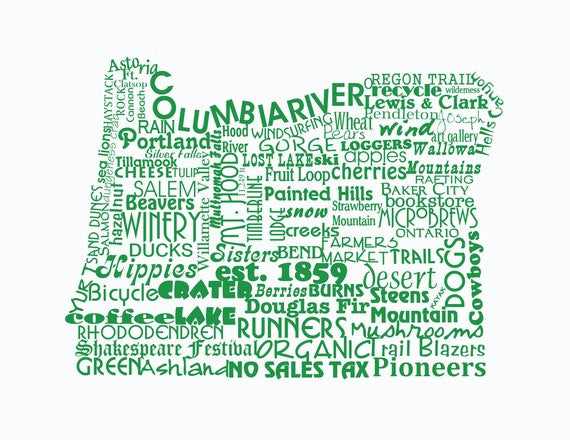 Oregon State Word Art Typography Print Oregon State Pride