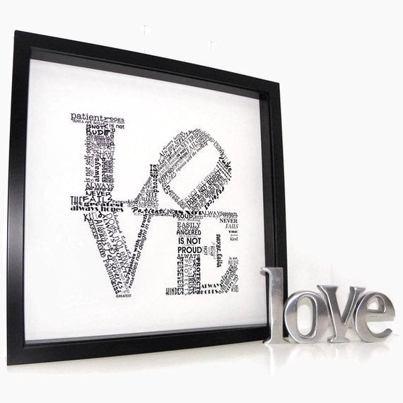 Love Never Fails Print 1 Corinthians 13 Typography Word Art Modern Art Love is Patient Love is Kind