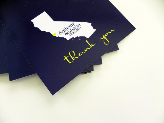Wedding Thank You Cards State Map Thank You Cards