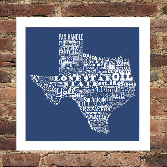 Texas State Typography Print