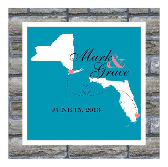 Wedding Map Gift Two States Love Art Map FRAMED Two State Map Long Distance Romance