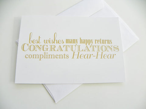 Congratulations Wedding Card Typography Gold and White Card Best Wishes Wedding Congratulations Card
