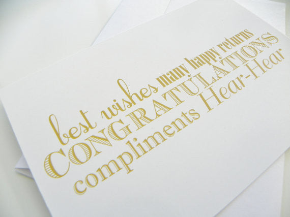 Congratulations Wedding Card Typography Gold And White Card Best