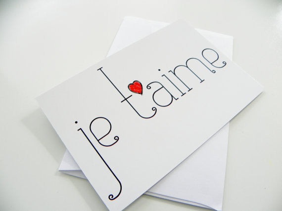 Romantic Greeting Card Je T'aime I Love You French Valentines Day Card Valentine Card