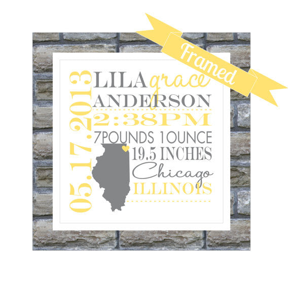 New Baby Gift Personalized Birth Announcement FRAMED State Map Any Location Worldwide Nursery Art