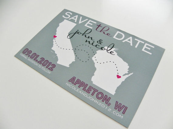 Magnet Save The Date Set of 48 Love Will Find A Way Series Custom State Map Save The Date Magnet Save the Date Card Save the Date Postcard