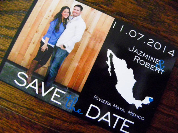Photo Save the Date Postcards Set of 48 - Any Location Available Wordwide Photo Map Postcards Map Photo Card Wedding Photo Cards